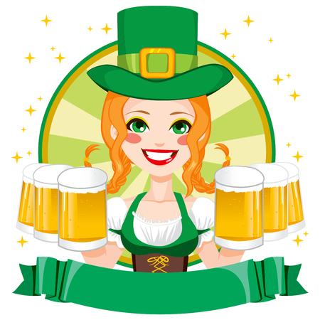 à  à     à  à    à  à female: Pretty San Patricio chica camarera sonriente celebración jarras de cerveza dorada con el sombrero de duende verde y la bandera