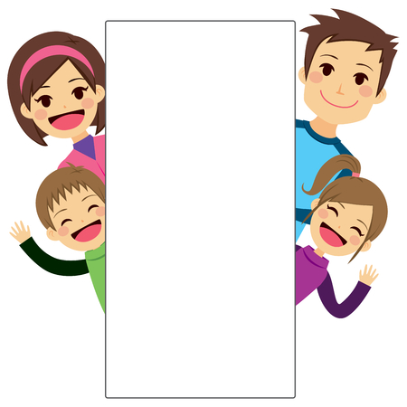 placard: Illustration of cute young family behind white blank placard Illustration