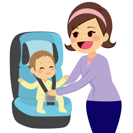 Cute little boy sitting on car baby seat with mother holding him while fasten safety belt Vectores