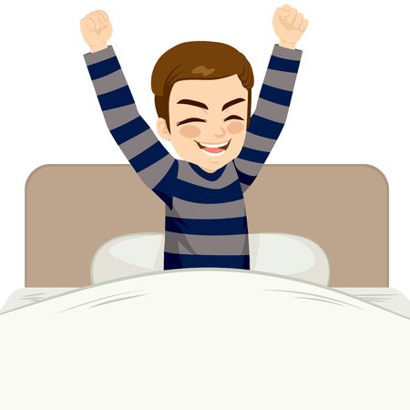 waking up: Young man happy waking up sitting on bed with arms up