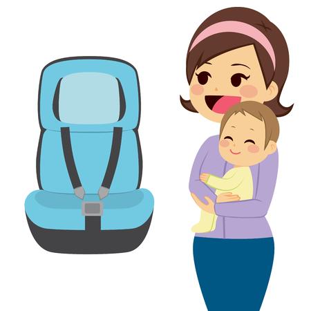 Schöne junge Mutter Baby hält neben Baby-Autositz Vektorgrafik