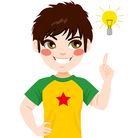 Concept illustration of young teenager boy pointing finger to light bulb having an idea
