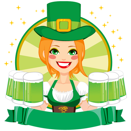 irish woman: Pretty Saint Patrick girl waitress smiling holding mugs of green beer with Leprechaun hat and banner
