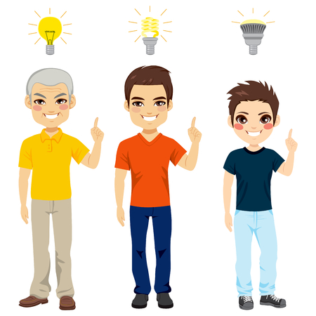 grandfather and grandson: Concept illustration of three generation family members with different kind of light bulbs representing new idea and thinking Illustration