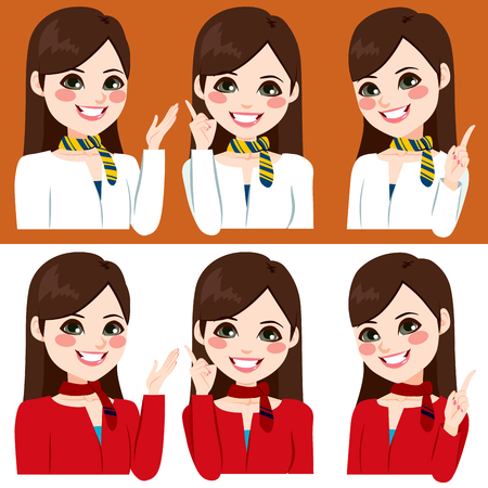 commercials: Beautiful young stewardess smiling making different hand sign expressions on two color uniform version Illustration