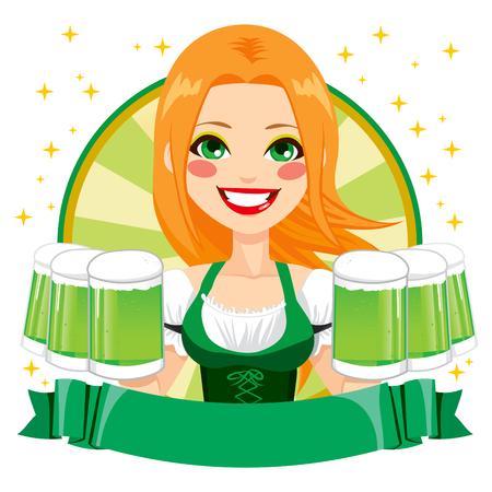 red haired person: Beautiful Saint Patrick girl waitress smiling holding mugs of green beer with green banner