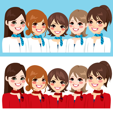 stewardess: Beautiful stewardess women team posing together smiling on two different uniform color version