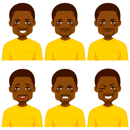 man yelling: Young African American man with six different expressions wearing yellow shirt Illustration