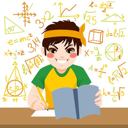 수식으로 둘러싸인 노트북으로 열심히 수학 시험 공부 어린 십대 소년