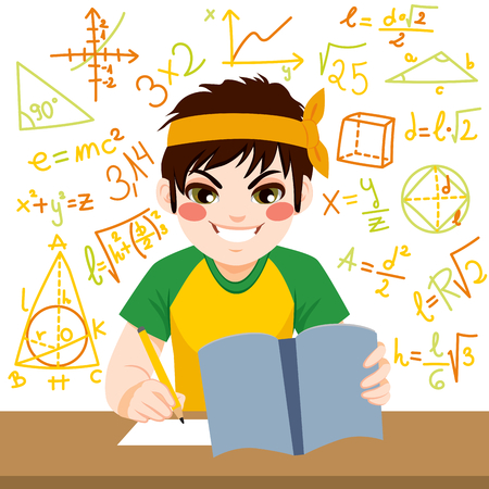 Young teenager boy studying hard mathematics exam with notebook surrounded by formulas