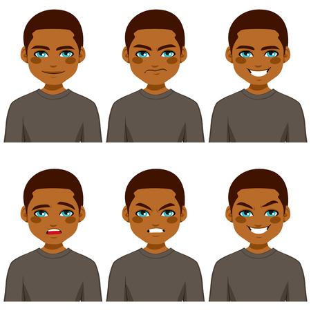 영 아프리카 계 미국인 남자 회색 셔츠를 입고 6 다른 얼굴 식 컬렉션 만들기