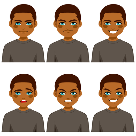 making face: Young African American man making six different face expressions collection wearing grey shirt