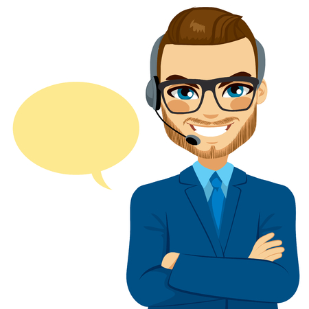 crossed arms: Call center man smiling with crossed arms and glasses on support phone with headset and speech bubble isolated on white background