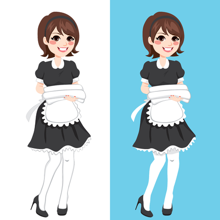 bedclothes: Young maid hotel service woman housekeeping holding white towels and bedclothes in two different background Illustration