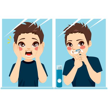 El muchacho del adolescente notar primera pelo de bigote y que tiene una primera afeitar en el espejo Ilustración de vector