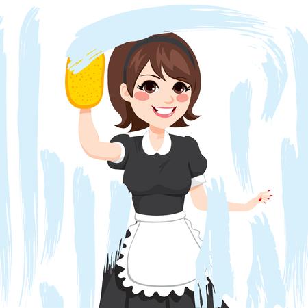 mujer caucásica morena en vestido de dama de trabajo de limpieza de ventanas con una esponja de jabón