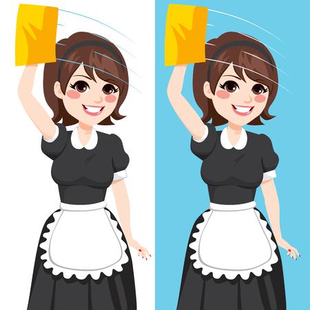 Hermosa mujer morena en traje de clásicos de limpieza que trabaja limpieza de ventanas con tela de color amarillo