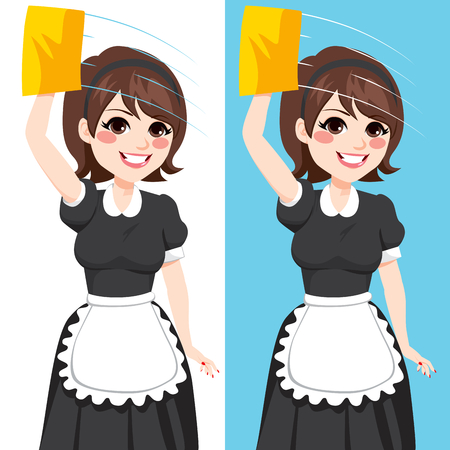 Beautiful brunette woman in classic maid dress working cleaning window with yellow cloth