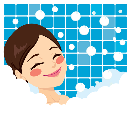 lying in bathtub: Bathing woman relaxing in bubble bath smiling with eyes closed