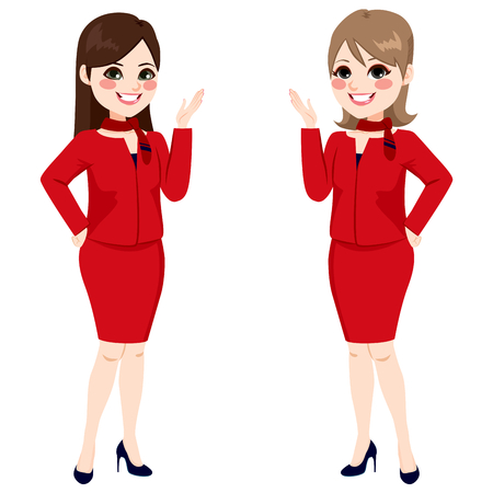 hostess: Two beautiful professional fair hostess women standing with red uniform smiling happy Illustration