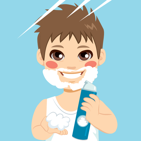 shaving: Cute little boy playing with shaving cream spray applying foam on face as fake beard