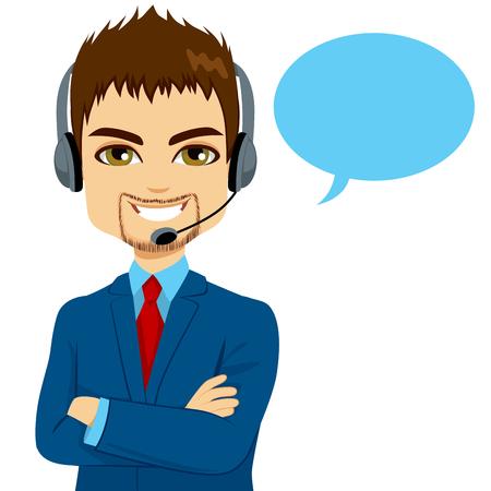 Retrato de hombre sonriente operador de centro de llamadas feliz en el teléfono de soporte con auriculares aisladas sobre fondo blanco