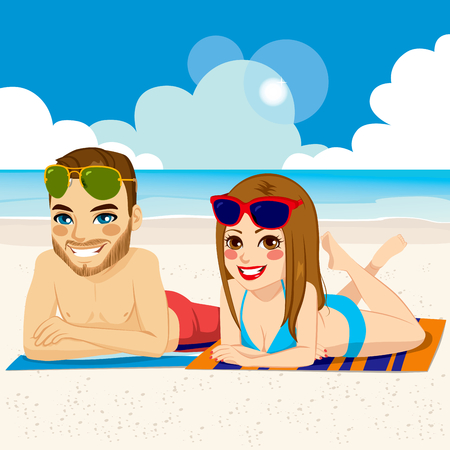 Romantic couple wearing swimsuit and sunglasses together on beach