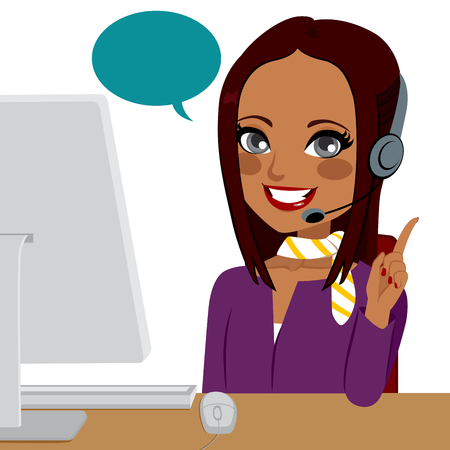 Beautiful young brunette Indian woman working on call center helping customer Vectores