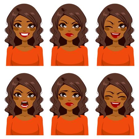Belle femme afro-américaine avec des cheveux bouclés faisant six expressions faciales différentes réglée avec la chemise rouge Vecteurs