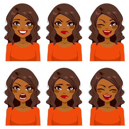 Beautiful African American woman with curly hair making six different face expressions set with red shirt Vectores