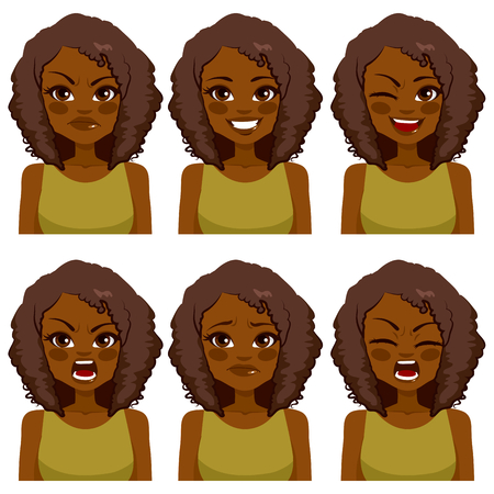 Beautiful African American woman avatar with afro hair making six different face expressions set with green shirt