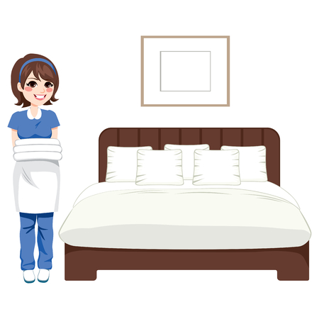 bed sheets: Hotel cleaning service woman working on bedroom holding clean white towels and bed sheets
