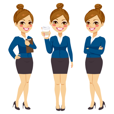 business confidence: Beautiful young confident businesswoman on three different action with coffee crossed arms and folder