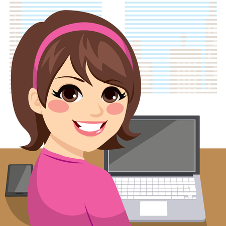 girl laptop: Young woman sitting at desk working smiling and looking back Illustration