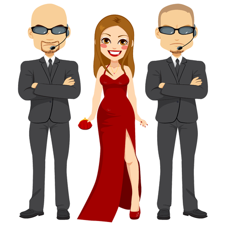 actress: Professional bodyguards standing protecting famous actress woman on elegant red dress