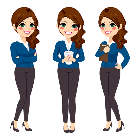 Beautiful young businesswoman on three different pose with coffee crossed arms and folder