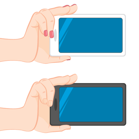 female hands: Isolated Human male and female hands holding blank horizontal smartphone isolated on white background Illustration