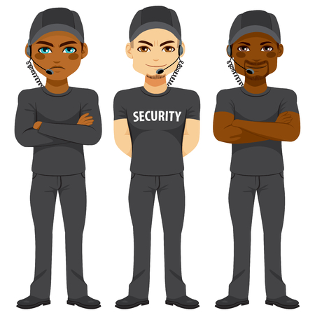 security uniform: Strong bodyguard team of different ethnicity working in security wearing same black uniform with sunglasses and headset Illustration