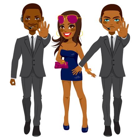 Profesjonalne African American ochroniarzy mężczyźni chroniące słynna gwiazda pop piosenkarka kobieta