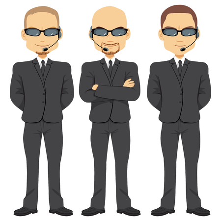 governmental: Bodyguards men team working in security with crossed arms wearing same black suit sunglasses and headset