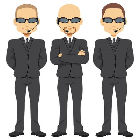 Bodyguards mensen team dat werkt in de beveiliging met gekruiste armen dragen dezelfde zwarte pak zonnebril en hoofdtelefoon