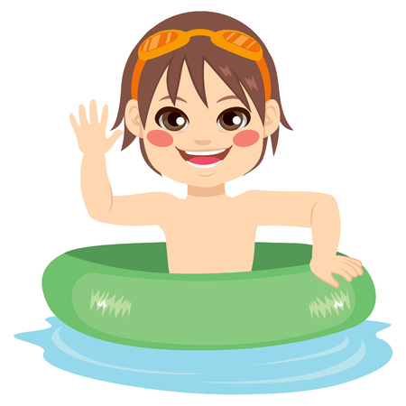 floating: Cute little boy with green inflatable ring waving hand happy
