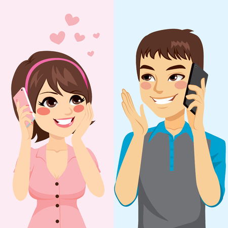 happy couple: Cute young lovers talking with phone starting relationship