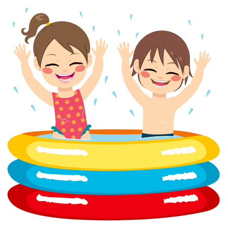 siblings: Cute little siblings children having fun on inflatable pool