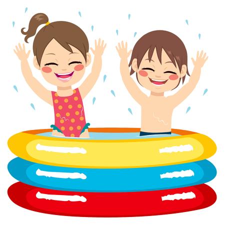 enfant maillot de bain: Jolie petite fratrie enfants amusent sur piscine gonflable Illustration
