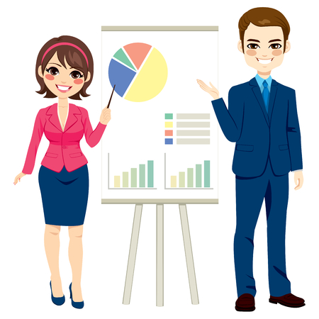 presentation board: Illustration of business people making presentation with graphs on board