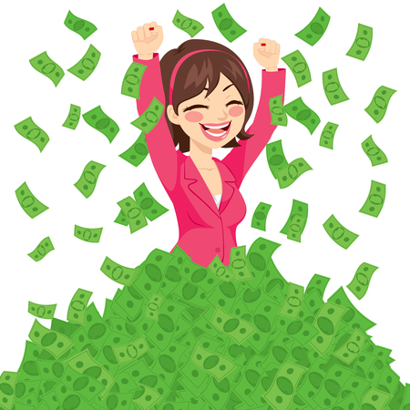 businesswoman suit: Happy rich successful businesswoman raising from huge pile of green money banknotes wearing pink suit Illustration