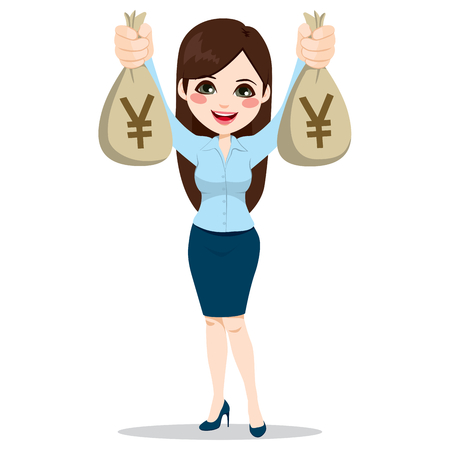 wealthy lifestyle: Beautiful Asian businesswoman holding two big yen money bags happy Illustration