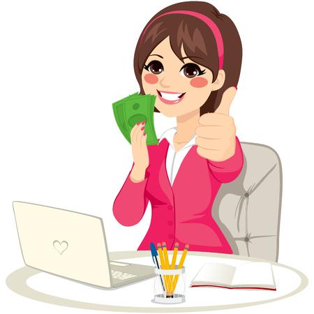Udane businesswoman z podejmowania zielony banknot fanem pieniędzy kciuki gest siedzi na biurku z laptopem