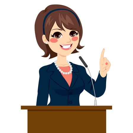 Joven y bella mujer política elegante que habla en el podium aislado en el fondo blanco